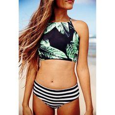 b28ec62950042 Striped Green Leaf Print High Neck Swimwear Slimming Bikinis