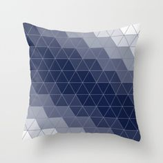 Indigo Navy Blue Triangles Throw Pillow