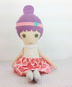 fabric Doll Handmade Doll Purple Haired Girl by makemineblue