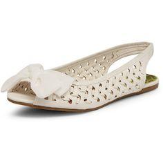 White slingback peep toe flats ($35) via Polyvore