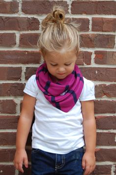 Magenta and Navy Stripe Sweater Toddler Infinity Scarf on Etsy, $12.00