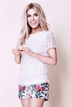We can't wait til the sun comes out to steal Mollie's style in these Tropical Forest Shorts and Pom Pom Tee!