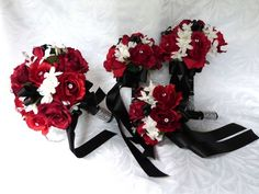 red, white & black bouquets | Red rose Bridal bouquet in red white black wedding bouquet ...