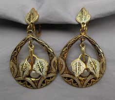 Vintage Damascene earrings hoops with pearl and leaves dangles screw-backs #Vintageunsigned #Dangle