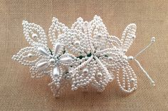 Tembleque Panameños Hairpin White Butterfly Hair Pin by QXPShop Flowers In Hair, White Flowers, Flower Hair, French Beaded Flowers, Butterfly Hair, White Butterfly, Best Gifts For Her, Beads And Wire, Pearl Beads