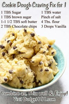 Cookie Dough Craving Fix- eggless mix, so grab a spoon & Eat up! Got a craving for cookie dough? When your sweet tooth kicks in & you don't feel like baking, here are 3 delicious safe tried-n-True raw edible cookie dough Cookies Dough, Cookie Dough Vegan, Cookie Dough For One, Nutella Cookie, Cookie Dough Bars, Cookie Dough Recipes, Cookies Et Biscuits, Baking Recipes, Dessert Recipes