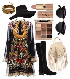 """Bohemian and Boots"" by betty-hrz ❤ liked on Polyvore featuring Roberto Cavalli, Steve Madden, San Diego Hat Co., Stila, tarte and Chan Luu"
