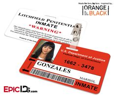Orange is the New Black Inspired Litchfield Penitentiary Inmate Wearable ID Badge - Gonzales, Marisol (Flaca)