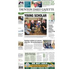 The front page of the Taunton Daily Gazette for Friday, Nov. 21, 2014.