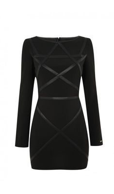Little black dress with black vegan-leather strapping running across it in a geometric pattern.. Get the supplies to make it: http://mjtrends.com/pins.php?name=black-vegan-leather-fabric-textile-material