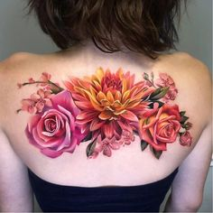 Caring For A New Tattoo - Hot Tattoo Designs Floral Back Tattoos, Flower Tattoo Back, Floral Tattoo Design, Flower Tattoo Designs, Rose Tattoos, Body Art Tattoos, 3d Flower Tattoos, Colorful Flower Tattoo, Lotus Flower