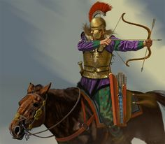 A Scythian Horse-archer performs the manouvere known as the 'Parthian shot' by turning to shoot his bow while retreating. Artwork by Johnny Shumate. Archery, Achaemenid, Great Warriors, Arm Armor, Ancient Rome, Ancient Greek, Ancient Persia, Historical Art, Dark Ages