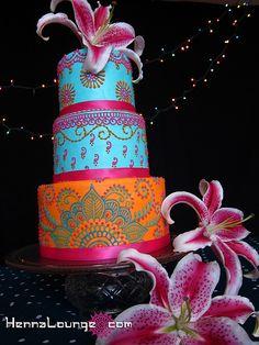 I WANT this Cake! ~ Colorful Indian cake by HennaLounge, Pretty Cakes, Beautiful Cakes, Amazing Cakes, Round Wedding Cakes, Indian Wedding Cakes, Exotic Wedding, Cake Wedding, Wedding Cupcakes, Indian Bridal