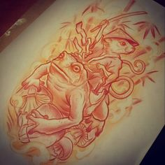 """""""#tattooflash #sketch #drawing #japanese #japanesetattoo #neotraditional #neotrad #mouse #warrior #toad #frog #tattooed #inked #mik #budapest #hungary…"""""""