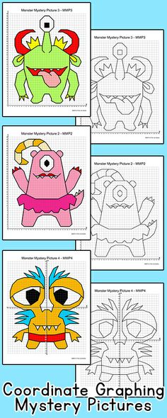 Practice plotting ordered pairs with these fun coordinate graphing monsters mystery pictures! Perfect for math centers, early finishers, subs or homework. By Pink Cat Studio Educational Math Games, Math Lab, Math Resources, Math Activities, Pink Cat, Early Finishers, Third Grade Math, Math Classroom, Fun Math