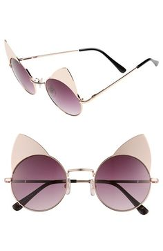 Sunscape 'Meowcifer' 50mm Metal Sunglasses available at #Nordstrom