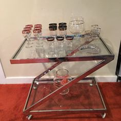 Mid Century Chrome and Glass Bar Cart, Z Frame Chrome Bar Cart, Retro Cocktail Server, Mid Century Modern Design, Cocktail Caddy on Casters by CapeCodModern on Etsy