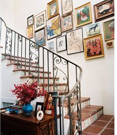 gallery wall + tile stairs