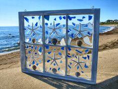 Items similar to Sun Catcher Window on Etsy Sea Crafts, Sea Glass Crafts, Sea Glass Art, Rock Crafts, Seashell Art, Seashell Crafts, Mosaic Art, Mosaic Glass, Window Pane Art