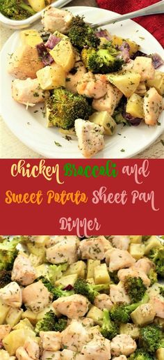 Chicken broccoli and sweet potato sheet pan dinner is such a great dinner! I love that you can cook it all in one pan. And the taste is so delicious. My Recipes, Dinner Recipes, Healthy Recipes, Cubed Sweet Potatoes, Oven Pan, Meal Prep Plans, Chicken Broccoli, Yum Yum Chicken, Sheet Pan