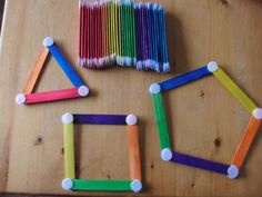 How to Make Craft Stick Shapes & Color Activity - Fine Motor Skills Tutorial Montessori Math, Preschool Learning Activities, Color Activities, Kindergarten Math, Fun Math, Educational Activities, Toddler Activities, Preschool Activities, Kids Learning