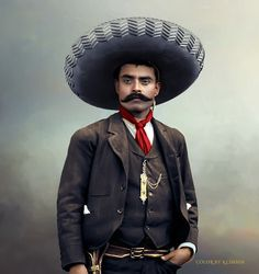 """Emiliano Zapata, """"El Caudillo del Sur,"""" was ambushed and gunned down on April 1919 in Chinameca, Morelos. It took 20 bullets to bring him down. He was 39 years old. Zapata i. Pancho Villa, Mexican Heroes, Mexican Art Tattoos, Indian Tattoos, Mexican Artwork, Mexican Revolution, Mexico Culture, Mexico Art, Aztec Art"""