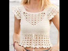 Top Tejidos A Crochet, Top Crop Tejido En Crochet, Crochet Blouse, Free Crochet, Knit Crochet, Crochet Summer Tops, Bralette Tops, Crochet Woman, Crochet Clothes