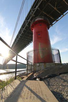 / Untitled photo by Joel Garcia Candle On The Water, Fort Lee, Washington Heights, Hudson River, George Washington Bridge, Light House, Windmills, Bridges, New York City