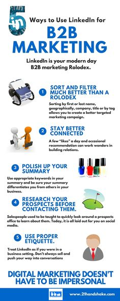 Top 5 Tips to Use LinkedIn for B2B marketing success. #infographic #linkedin