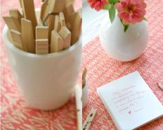 """Good idea for any special event: Amazingly adorable!!!! """"Set up a clothesline and lay out a stack of paper and pretty pens.  Have guests write their favorite stories and memories of you and hang them on the line for all to read!    The cards would be wonderful keepsakes post-wedding, and a joy to look back on and read for years to come."""""""