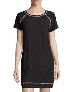 Short-Sleeve+Terry-Lined+Jersey+Dress,+Ecru/Black+by+Max+Studio+Weekend+at+Neiman+Marcus+Last+Call.