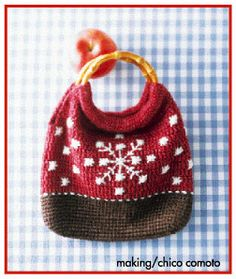 Crochet Christmas bag. Free chart by Clover. Click the PDF button on the right at the bottom.