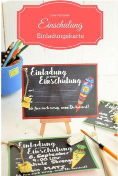 1. Schultag! Tolle Einladungskarte zur Einschulung des Abc-Schützen - free download!