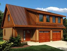 garage plans Carriage House Plan With Shed Dormer - Garage Loft Apartment, Garage Apartments, Apartment Ideas, Garage Bedroom, Garage Plans, Shed Plans, Car Garage, Dream Garage, Barn Plans