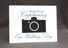 Wedding Photographer Thank You Card, Thank You for Capturing Our Wedding Day Card, Select Colors - pinned by pin4etsy.com