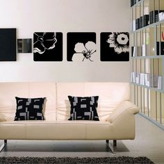 Three Flower Squares - Wall Decals Stickers