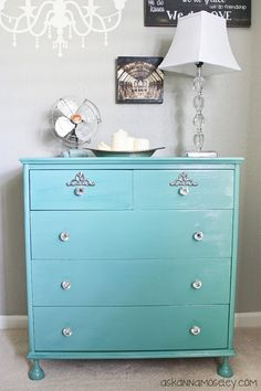 How to paint a dresser and use a water-based polyurethane to give it a little shine.