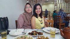 Hasnah Bujang with Nadia Ghazali at Homst Chinese Muslim Restaurant Taman Tun Dr Ismail.