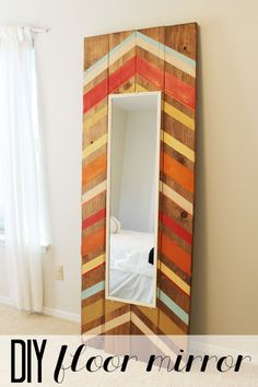 DIY Full Length Floor Mirror Tutorial: Child at Heart How to build a large floor mirror using a small $5 wall mirror