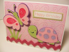 turtle and butterfly card <3 Create a Critter - love the glitter and the rickrack