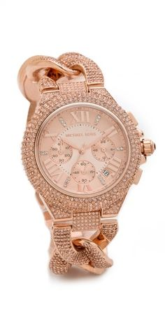 Rose gold MK watch with link band