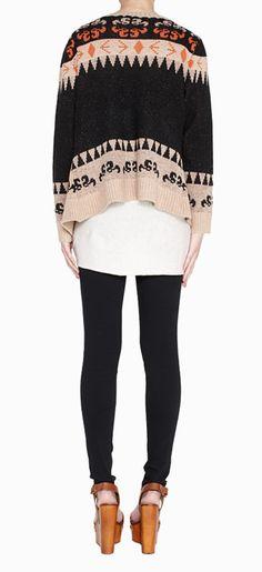 Tribal sweater, skinnies + wedges