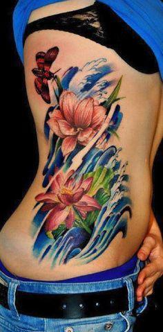 Colored lotus side tattoo - 70 Elegant Lotus Tattoo Designs  <3 <3