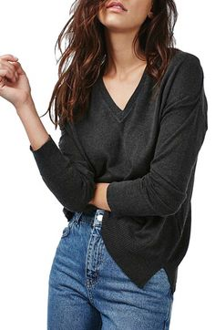 SWEATER BASIC || Topshop Topshop Slouchy V-Neck Sweater available at #Nordstrom