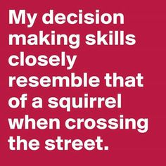 If only I were that decisive... First time I've been one-upped by a squirrel.