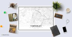 A beautiful poster made with Mapiful called 'Timperley'. With Mapiful you can create, design and order a printed poster of your own customized map.