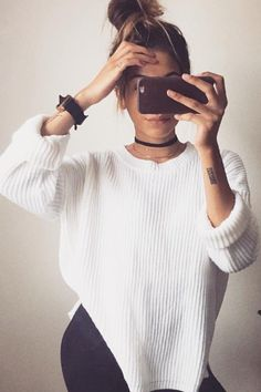 Pure Color Scoop Long Sleeves Loose Sweater  #dresslover #streetstyle #outfitoftheday #meetyoursfashion #fashionstyle #girlfashion #shopaholic #streetfashion #womenstyle #model