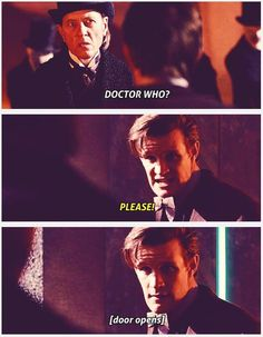 """Simeon: """"The Doctor's friends. Stop their hearts."""" (The Whisper Men hiss.) .... The Doctor: """"Stop this. Leave them alone."""" Simeon: """"Your name, Doctor. Answer me.""""... The Doctor: """"Please, stop it."""" Simeon: """"Doctor who?"""" S7E13: The Name of the Doctor. [gifs]"""