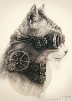 Steampunk Kitty Artwork by wj313.