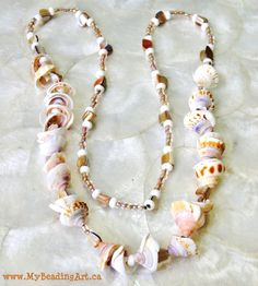 Long Shell Necklace Seashell Necklace Sea Shell by MyBeadingArt